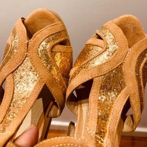 Aldo    Nude & Champagne Glitter Peep Toe Pumps